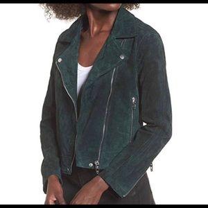 BlankNYC Suede Moto Jacket Asymmetric Zip front